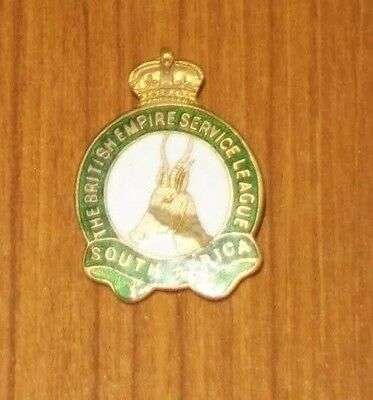Vintage Button hole Badge, British Empire Service League, South Africa
