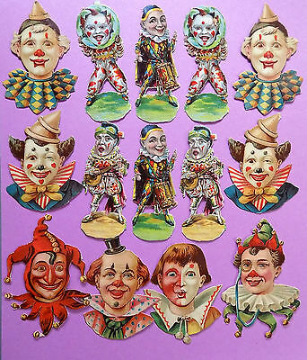 c1890 VICTORIAN DIE-CUT ALBUM SCRAPS ~ CIRCUS CLOWN FACES & FIGURES x 14