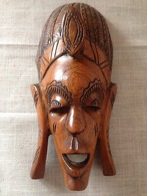 Large Hand Carved Solid African Wooden Tribal Mask