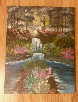 Vintage Antique Original Signed Oil Painting Canvas Waterfall Forest 16 X 20