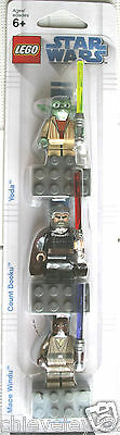 lego star wars Yoda Count Dooku & Mace Windu magnet set brand new in sealed pack