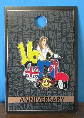 Hard Rock Cafe Manchester 16th Anniversary Pin 2016 ~ Scooter Union Jack Flag