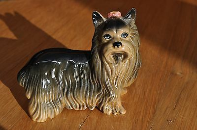 Small  Yorkshire  Terrier  Ornament  With  A  Pink  Bow
