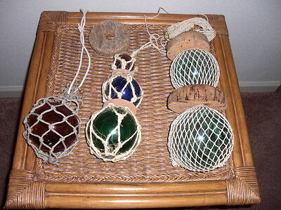 Vintage Nautical Hand Blown Glass Fishing Net Buoy Float Balls