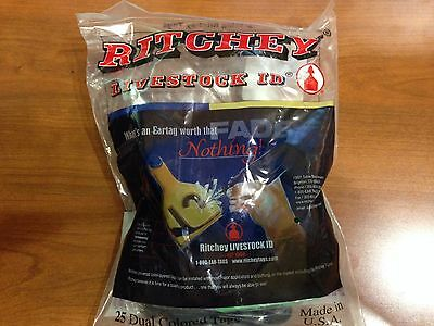 New RITCHEY LARGE GREEN/BLACK COW engraveable ear tags 25 in bag