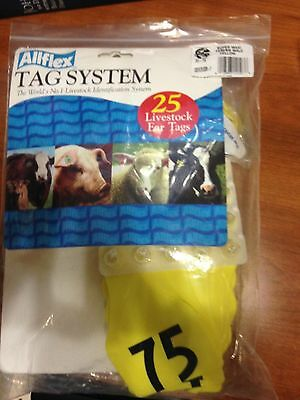 New Allflex MAXI #51-75 Ear Tags bag of 25 for cattle, calf tags yellow