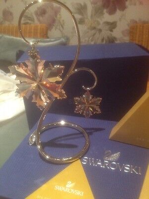 Swarovski 2014 SCS Large And Little Ornaments + Stand , New In Box