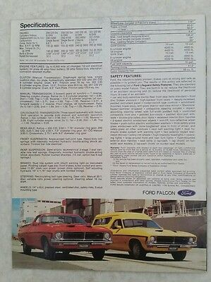 Xb Ford Falcon Ute & Panel Van Sales Brochure With Vehicle Prices