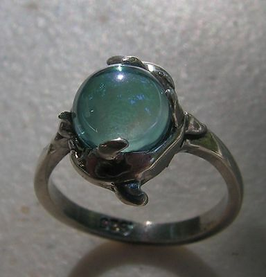 Sterling Silver Dolphins Ring With Aqua Aura