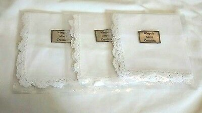 New White Cotton Handkerchiefs Lot Crocheted Edge Wimpole Street Creations