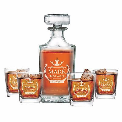 Personalized Whiskey Decanter Set with 4 Glasses - Liquor, Wine, Drinking Gift