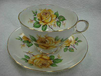 Royal Adderley TEA CUP & SAUCER Yellow Roses BEAUTIFUL  Made In England TR7