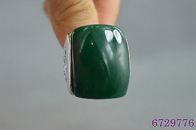 china collectible handwork miao silver carve flowerr inlay jade auspicious ring