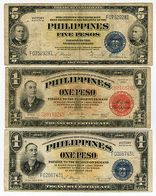 Philippines 1936-1944 Issue 1 And 5 Pesos 3 Notes Lot.