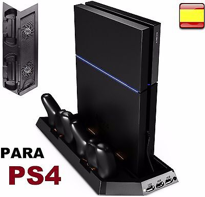 Base de carga para mando PlayStation 4 Dock cargador PS4 Fan Cooler 2 ventilador