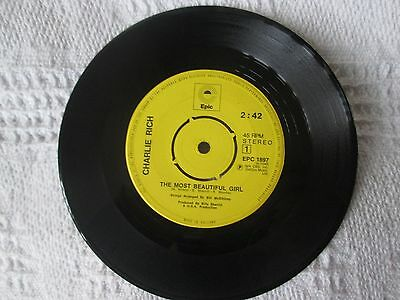 CHARLIE RICH - THE MOST BEAUTIFUL GIRL 45rpm 7 inch jukebox vinyl single 1970s