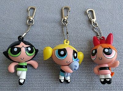 Powerpuff Girls 3 key chains/ backpack clip-on Buttercup Blossom Bubbles -2000