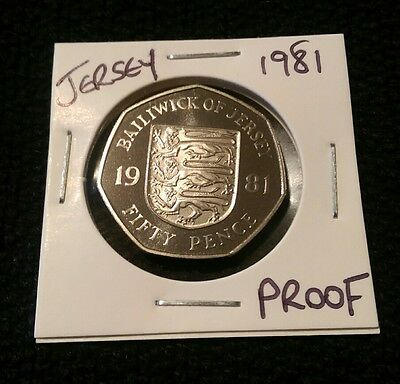 1981 Proof Jersey 50p pence coin, beautiful frosted coin
