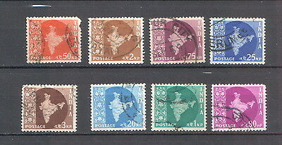 India 1958 map of India used stamps