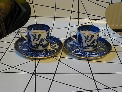 spode small cup/saucers x 2 copelands china T.Goode & co c820 blue and white