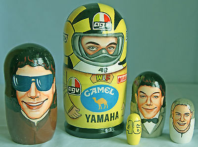 VALENTINO ROSSI  Rare Hand Painted Wooden Doll Set