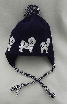 BICHON FRISE dog NEW knitted lined NAVY BLUE ADULT TRAPPER EAR FLAP HAT