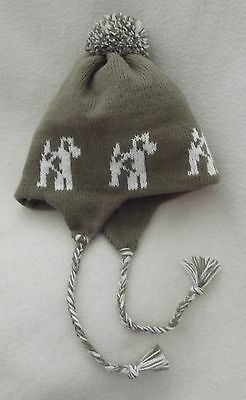WIRE FOX TERRIER dog NEW knitted lined ADULT SIZE BROWN TRAPPER EAR FLAP HAT