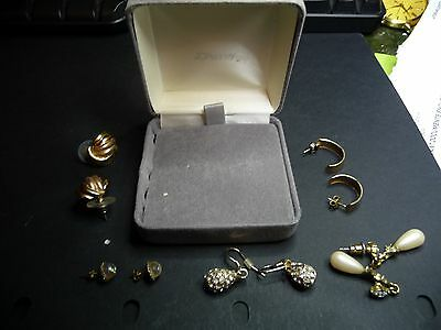 Earrings 5 sets all for pierced ears gold pearl and diamond looking