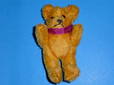 "Vintage Schuco Teddy Bear Miniature Mohair 4.5"" Mechanical Jointed 1950""s Gold"