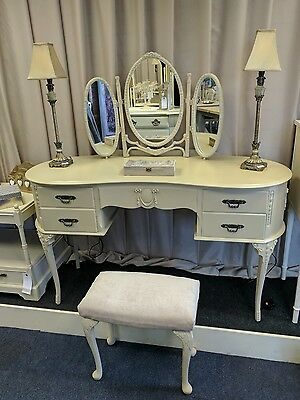 Shabby chic vintage dressing table with mirror and stool