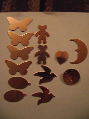 Collection Of Mixed Shapes Copper Blanks For Jewellery Enamelling