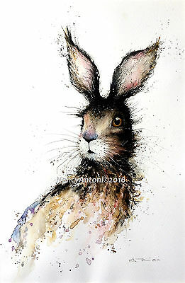 LARGE Print of my Original Watercolour Painting 'Cute Hare' A3 Size