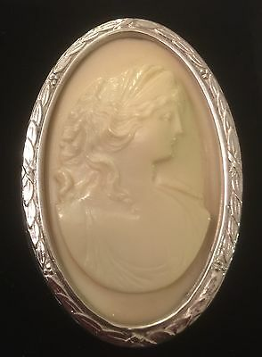 Vintage? Large Silver Cream Cameo -