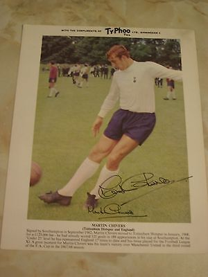 MARTIN CHIVERS TOTTENHAM  and ENGLAND HAND SIGNED TYPHOO TEA CARD
