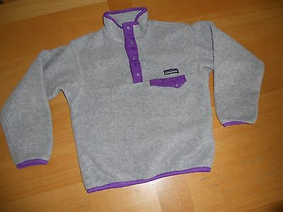 Patagonia GRAY PURPLE SNAP T PULLOVER FLEECE spring COAT JACKET Kids YOUTH 8