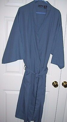 Puritan Men Robe 2XL/3XL 60/40 Cotton/Poly Wrap/Tie Belt Long Sleeve Blue