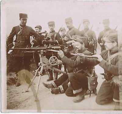 WWI French Troops with Hotchkiss Machine- Original Real Photo Stereoview