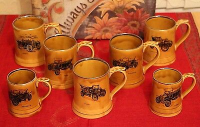 7 Authentic Vintage - Wade Veteran Car Tankards - 5 large, 2 small.