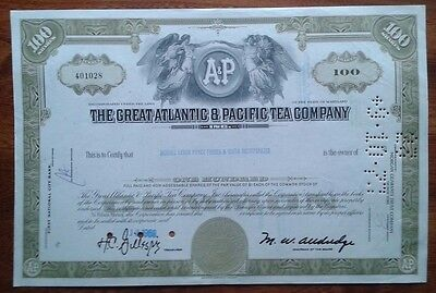 The Great Atlantic & Pacifific Tea Company Stock Certificate 100 Shares