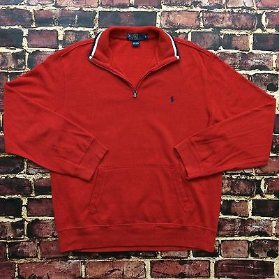 Vintage Polo Ralph Lauren Half Zip USA Sweater L Large Red White Blue