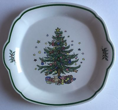 Nikko Japan Christmas Tree Happy Holidays Cake Plate Tray Platter With Handles