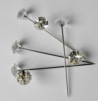 """200 Clear Gem Diamond1.5"""" Pins Diamante Bling for, Bouquets Wedding Flowers"""