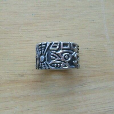 Vintage 925 Sterling Silver Mayan Aztec Tribal Ring Band Mexico