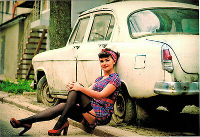 Modern Russian Pin-up card Girl in RED SHOES  at vintage car