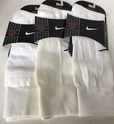 New Lot Of 3 Nike Soccer Kid Socks White Youth 6-8 Made In USA