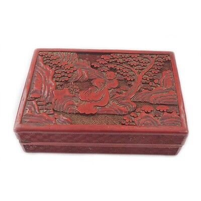 Antique Chinese Cinnabar Carved Lacquer Box Landscape with Scholar & Boy Student