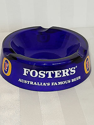 Collectible  Foster's Beer Cobalt Blue Glass Ashtray