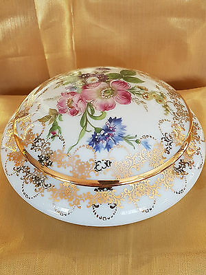 Limoges France Porcelain Lidded Powder Trinket Box