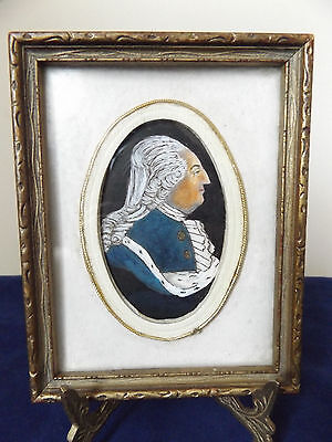 Lovely Antique Vintage Portrait Miniature Painting Of A Man In Gilt Frame.