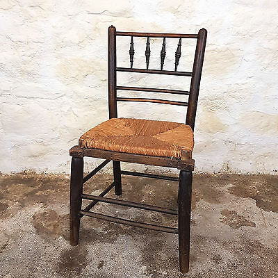 C19th Stained Oak Spindle Back Country Chair - (Antique)
